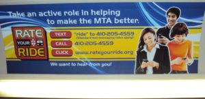 This 'RATE YOUR RIDE' Bus Poster could cause issues with conservative commuters back home? — in Baltimore, MD